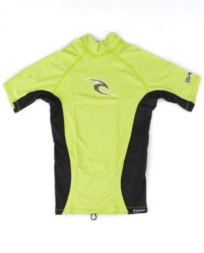 Rip Curl Boys Youth Classic Short Sleeve Wave Lycra Rash Guard (Yellow, 4)