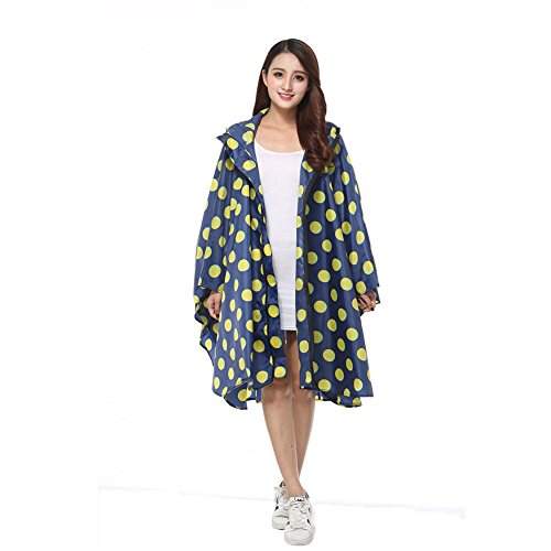 Little Finger - Abrigo impermeable - para mujer Dark Blue Yellow Dots