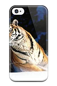 Anti-scratch And Shatterproof Wintery Scuddle, Siberian Tiger Phone Case For Iphone 4/4s/ High Quality Tpu Case