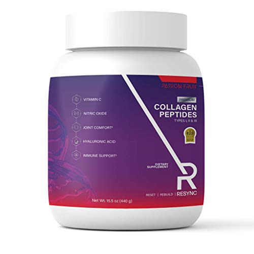Resync Collagen Peptides + Vitamin C & Antioxidants + Vegan Nitric Oxide Blend for Energy & Recovery | 15.5g of Collagen…