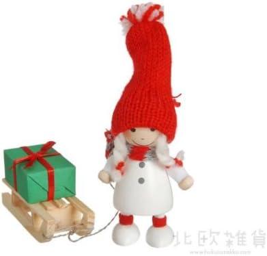 NORDIKA nisse ノルディカ ニッセ クリスマス 木製人形 (プレゼントをひいたコートの女の子/ホワイト / NRD120111)