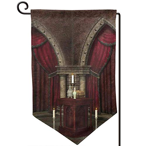 lsrIYzy Garden Flag,Mysterious Dark Room in Castle Ancient Pillars Candles Spiritual Atmosphere Pattern,12.5x18.5 inch
