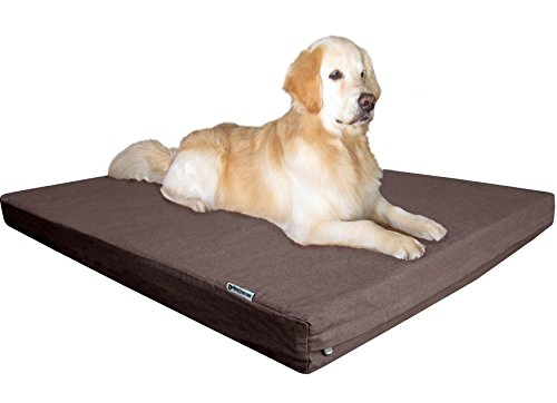 Dogbed4less Heavy Duty Orthopedic Gel Memory Foam Pet Bed with Waterproof Internal Case + 2 Washable Denim External Cover for Large Dog