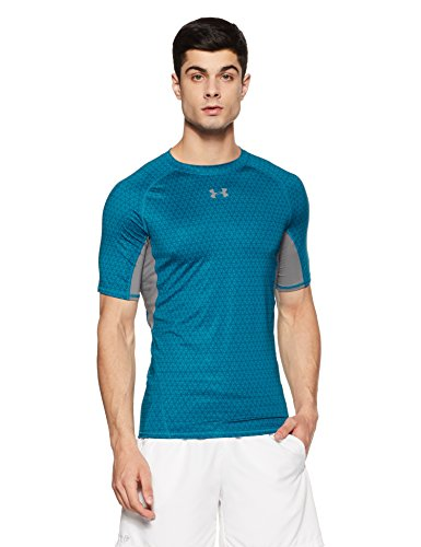 Under Armour Men's HeatGear Armour Printed Short Sleeve Compression Shirt,Bayou Blue (953)/Graphite, Small by Under Armour (Image #1)