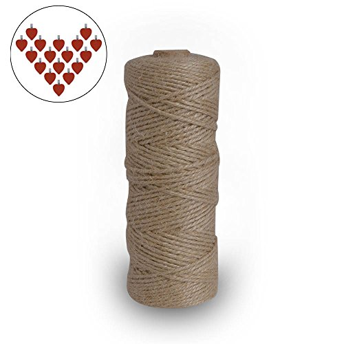 328Feet Natural Jute Twine 3Ply Industrial Packing Materials for Gift ,Decoration, Arts and Crafts Christmas twine Durable String for Gardening Applications Bonus 24Mini Red Love Photo Craft Clips Set