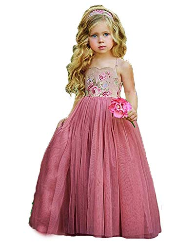 Fancy Toddler Flower Girl Summer Beach Dress Backless Maxi Long Tulle Wedding Party Birthday Princess - Dress Girl Summer Flower