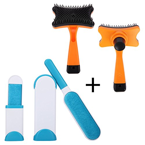 Brushes for Dog Cat Pet Grooming Brush and Self Cleaning Slicker Pet Hair Removal Brushes 2 in 1 Combo,Removes Dog Fur, Cat Fur and Lint from Dog,Cat,Clothing, Furniture Upholstery.