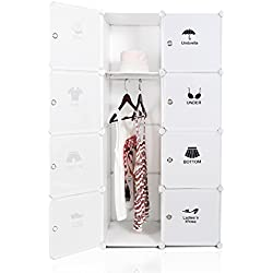 ROKOO Clothes Closet Wardrobe Portable DIY Modular Cube Shelving System Storage Organizer with Hanging Rod and Door Stickers Larger Space Thicker Board Sturdy Construction (8 cube)