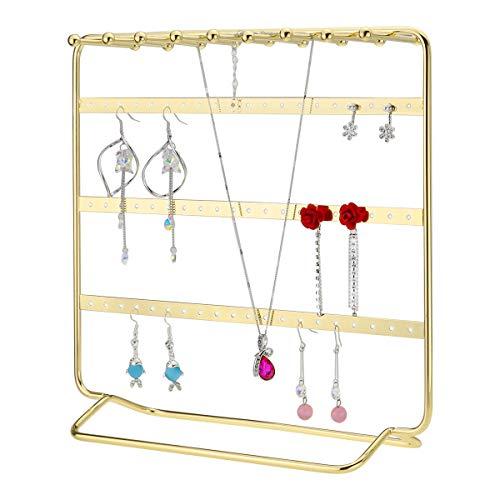 Leoriso Jewelry Stand 4 Tier Metal Earrings Organizer Beautiful Gold Necklaces Holder Bracelets Display Jewelry Organizer