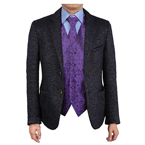Epoint EGD1B05B-L Dark Violet Black Paisley Vest Microfiber Christmas Tuxedo Vest Neck Tie Set Economics International
