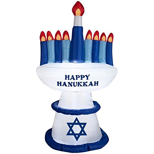 4 ft Happy Hanukkah Menorah & Candles Airblown Inflatable Outdoor Yard Art ()