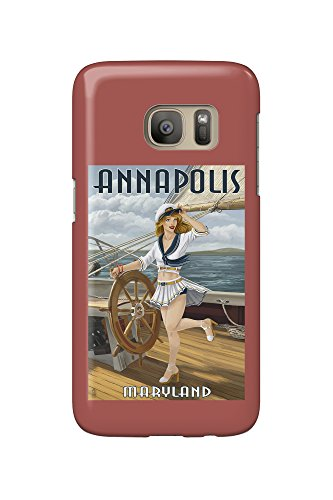 Annapolis, Maryland - Pinup Girl Sailing (Galaxy S7 Cell Phone Case, Slim Barely - Kids Annapolis