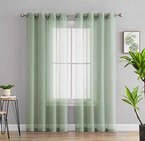 HLC.ME 2 Piece Semi-Sheer Voile Window Curtain Grommet Panels for Bedroom & Living Room - (54