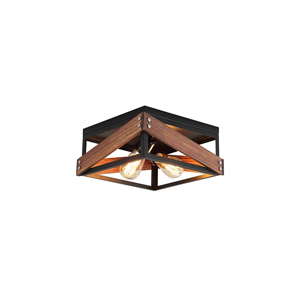 Rustic Industrial Flush Mount Light Fixture Two-Light Metal and Wood Square Flush Mount Ceiling Light for Hallway Living…