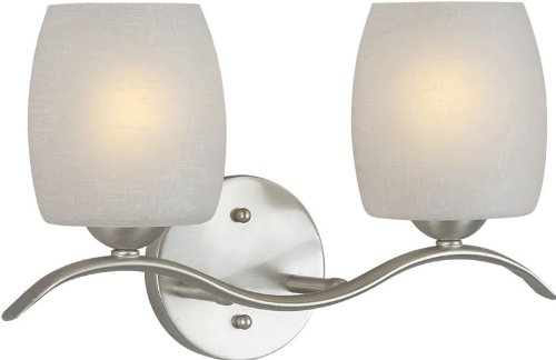 Forte Lighting 5251-02-55 Transitional 2-Light Vanity Fixture with White Linen Glass, Brushed Nickel Finish