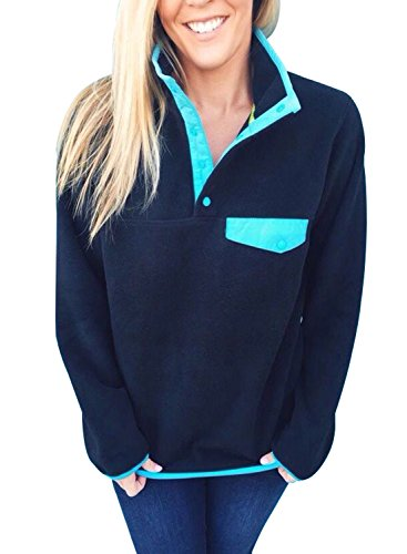Fleece Button (FIYOTE Casual Long Sleeves Stand Collar Buttons Pockets Fleece Pullover Tops Blouse XX-Large Size Blue)