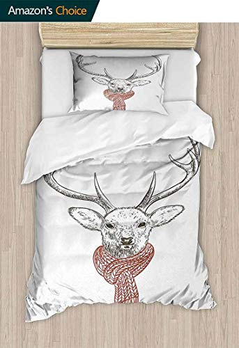- Temox Antlers Modern Pattern Printed Duvet Cover, Illustration of a Deer Wearing Scarf Knitted Neck Wintertime Cold December, 100% Cotton Beding Linens for Kids Children,59 W x 78 L Inches
