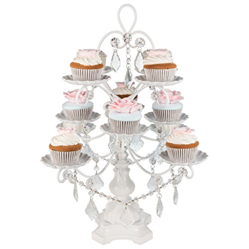 Madeleine Collection White 12-Piece Cupcake Stand, Metal Tiered Cake Dessert Display Tower Holder with Crystals by Amalfi Decor