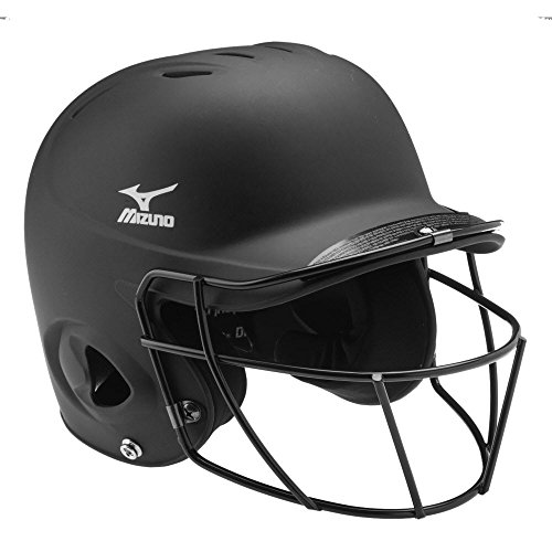 Mizuno MVP Batter's Helmet with Fastpitch Facemask, Black, Small/Medium