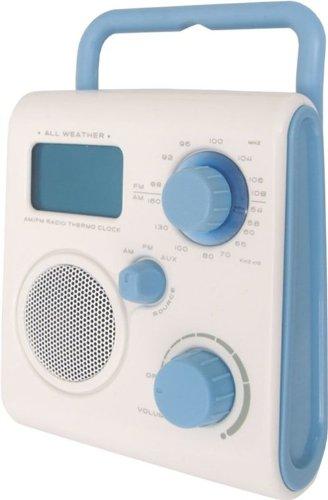 Radio ducha AM/FM con reloj blanca/gris. Alarma y ...