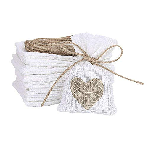 50pcs/lot Brulap Candy Bags with String Birthday Wedding Party Gift Bags Jewlery Pouches DIY Craft Party Favor Jute Gift Bag Sack Pouch (Jute String, White with Brown Heart)