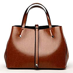 Luxury Lady Handbag Women Bag Genuine Leather Messenger Bags Oil Wax Leather Shoulder Bag Brown