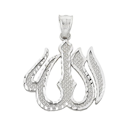 10 ct 471/1000 Or Blanc Diamant Coupe Allah Pendentif