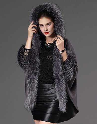 NiSeng Mujer invierno capas de punto con capucha piel sintética de ponchos manga larga Gris