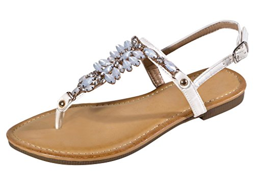 Best White Paris Floral Jewel Strappy Summer Heeled Ladies Sandal with Buckle Vegan Leather Comfort Modern Beach Slipon Slipper Gift Idea Under 30 Dollar for Sale Wife Women Ladies (Size - Fancy Jewel