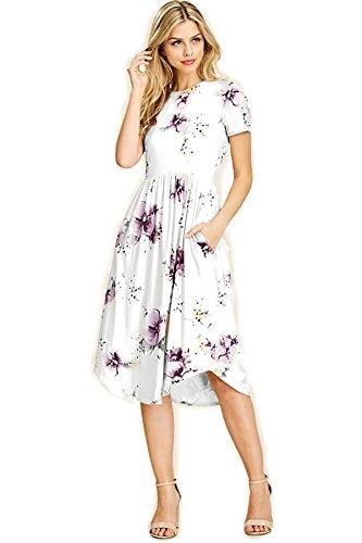 SHOPGLAMLA Floral Print Round Neck Hem Flared Short Sleeves Pocket Mid Dress Tropical Day (Round Hem) - Lilac ()