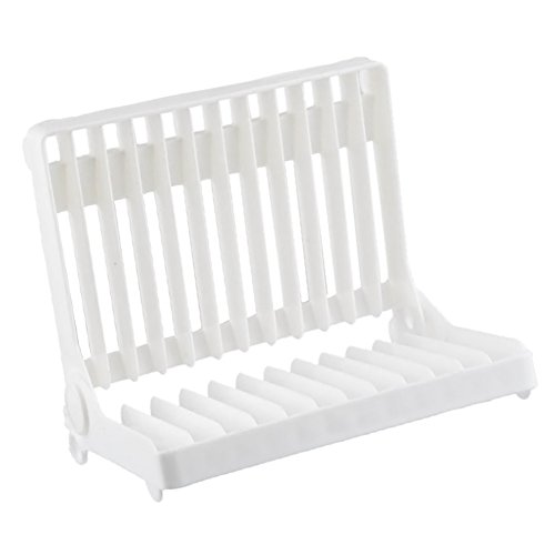 BleuMoo Kitchen Plastic Foldable Dish Plate Drying Rack Orga
