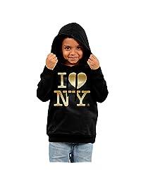 Little Boys Girls I Love NY New York Gold Logo Hooded Sweatshirt Black