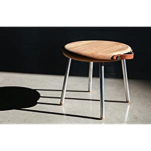 Wood Stool Mini Portable Table Luxury Outdoor Coffee Wine Camping Picnic Small Tables Removable Aluminum Legs Leather Handle by Urban Galley