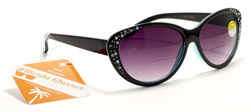 FG Kim Kardashian Style Womens Bifocal Reading Sunglasses with Rhinestones and Magnifier Inserts +125, 150, 200, 250, 300 Power Sun - Bifocal Inserts