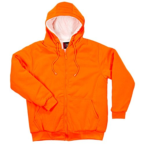North 15 Men's High Visibility Safety Hooded Sweatshirt, Quilted, Thermal Lined - Zipper (Orange Thermal Lined Zipper Hooded)