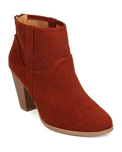 Qupid Women Faux Suede Perforated Chunky Heel Ankle Bootie FJ62 - Whiskey (Size: - Heel High Inch 6.75