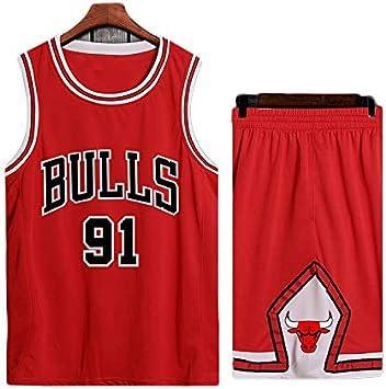 Transpirable Y De Secado R/ápido Deportes Camiseta Sin Mangas XS-XXL 91 Uniforme De Baloncesto Dennis Rodman LDFN Jersey Baloncesto Baloncesto Jersey Conjunto Masculino Color : A, Size : XL