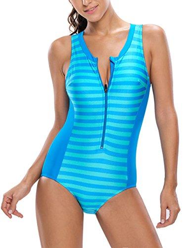 Sidefeel Women One Piece Swimsuit Monokini Zipper Front Swimwear Small Blue