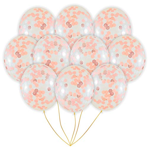 Rose Gold Confetti Balloons | 10 Pack Large 18 Rose Gold Foil, Light Pink and White Paper Pre-Filled | Wedding Engagement Birthday Party Events