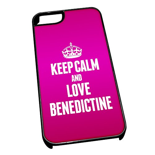 Nero cover per iPhone 5/5S 0817 Pink Keep Calm and Love Benedictine