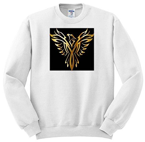 3dRose Metallic Gold - Image Of Metallic Gold Phoenix On Black - Sweatshirts - Adult Sweatshirt 2XL (SS_279965_5)