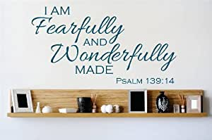 Decal - Vinyl Wall Sticker : I am fearfully and wonderfully made Psalm 139:14 Quote Home Decor Sticker - Vinyl Wall Decal - 22 Colors Available Size: 14 Inches X 30 Inches
