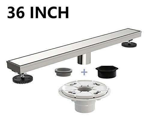 - Ushower Stainless Steel Linear Drain 36 Inch with Shower Drain Base, Tile Insert Linear Floor Drain Brushed Nickel, Invisile Rectangle Shower Bathroom Drain with Leveling Feet, Threaded Adapter