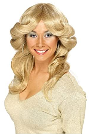 Blonde Long Wavy Layered Flick Fancy Dress Wig Charlies Angels/Abba 70s (peluca)