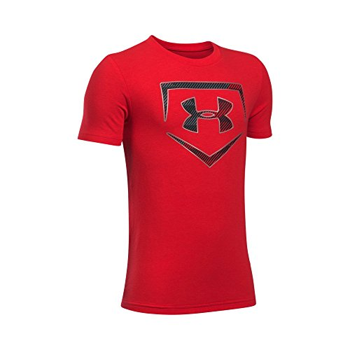 Baseball Kids T-shirt (Under Armour Boys' Baseball Logo T-Shirt, Red/Metallic Silver, Youth Medium)