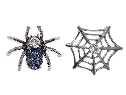 Alilang Gunmetal Spider Web Clear Blue Crystal Rhinestone Earrings Halloween