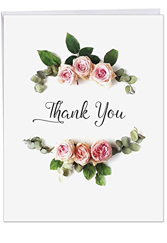 8.5 x 11 Inch Thank You Greeting Card with Envelope - Jumbo Sized 'Elegant Flowers' of Beautiful Pink Floral Roses - Flower Arrangement Bouquet for Wedding, Baby Girl - Appreciation -