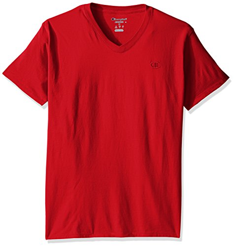 Champion Men's Classic Jersey V-Neck T-Shirt, Scarlet, S ()