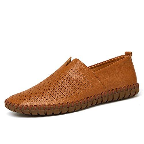 Mocasines Hollowed Hombres Zapatos Soft Shoes Genuino a de Brown Cuero Slip Mocasines Flats Breathable On Mano Hombre Zapatos Hechos Zapatos xHqp81