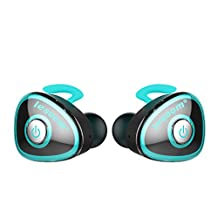 True Wireless Stereo Earphones,Lesoom Mini Invisible Truly Wireless Bluetooth V4.1 Surround Sound Earbuds Headhone Noise Cancelling In-Ear Headset With Microphone For iPhone Samsung Android IOS (Blue)